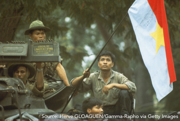 Viet Cong soldiers waving NLF flag