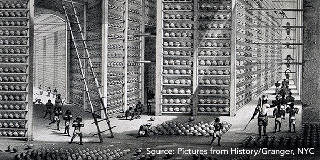 "Image 1: A ""stacking room"" in an opium factory in Patna, India. On the shelves are balls of opium that were part of Britain's trade with China."