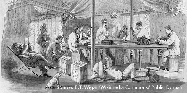 Image 4: British officers in their tent during the first Opium War, circa 1839
